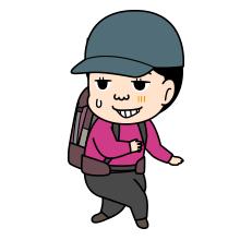 苦笑いの登山者のイラスト