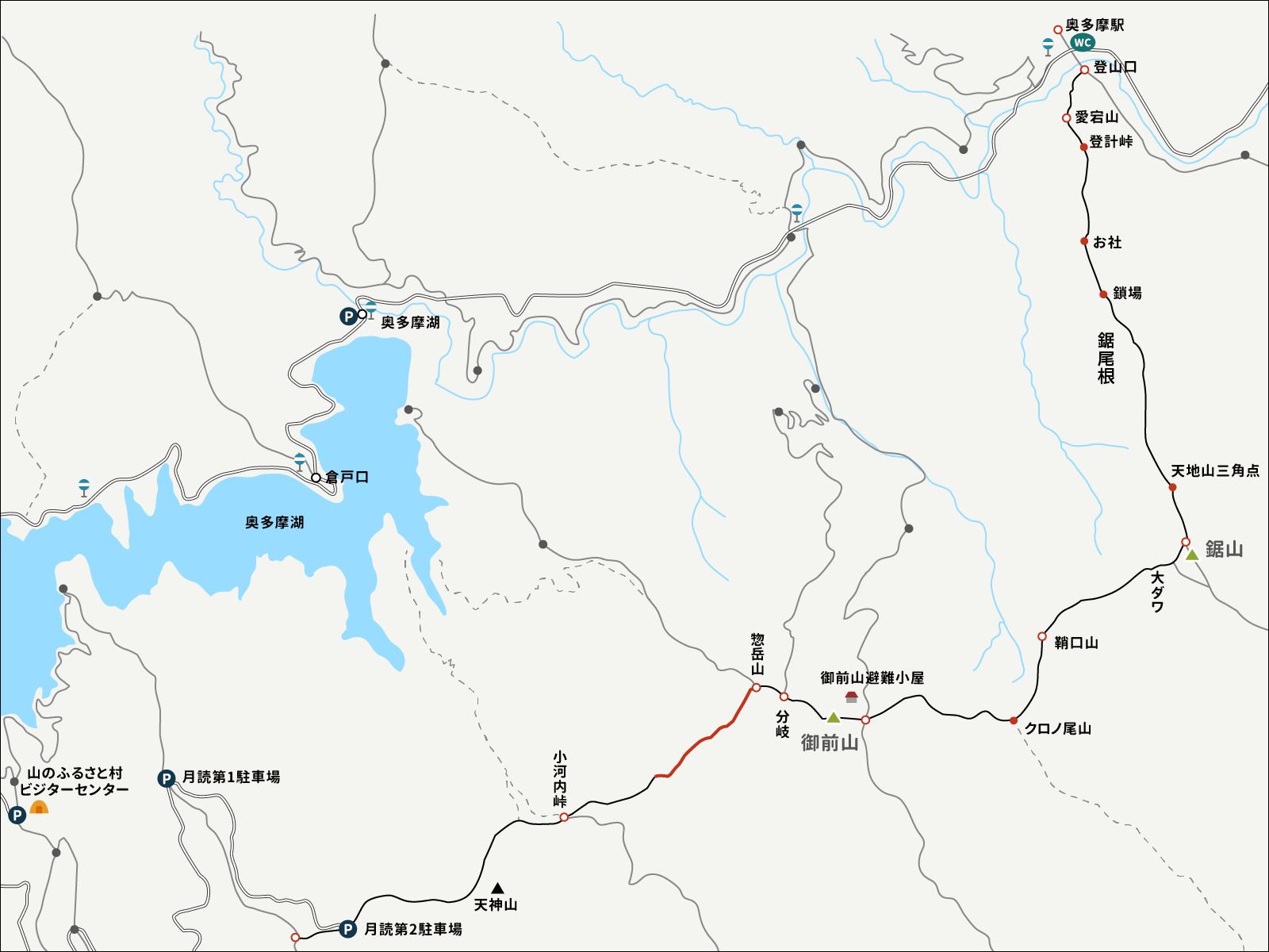 忽岳山から分岐点までのイラストマップ