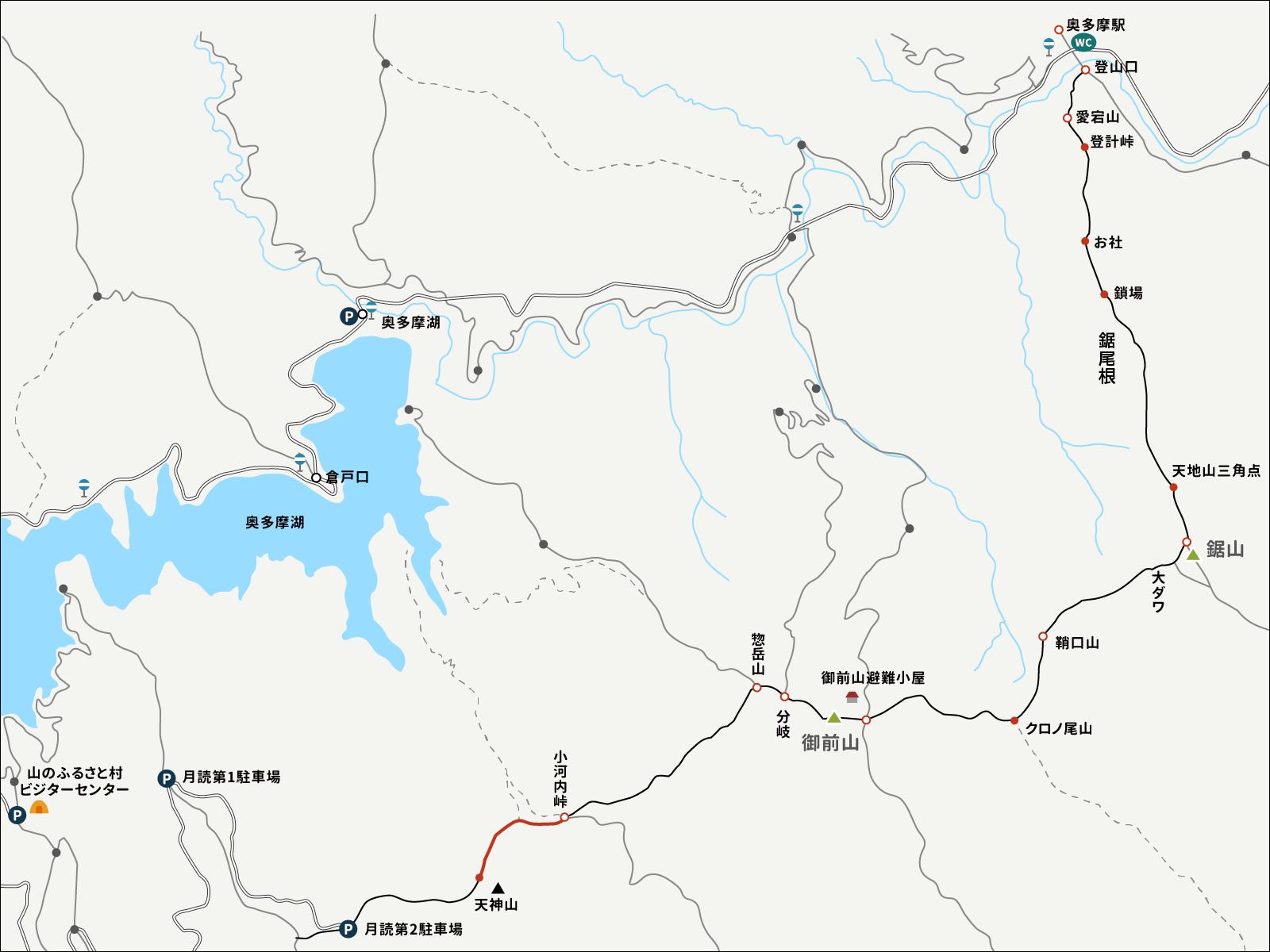 小河内峠からのイラストマップ