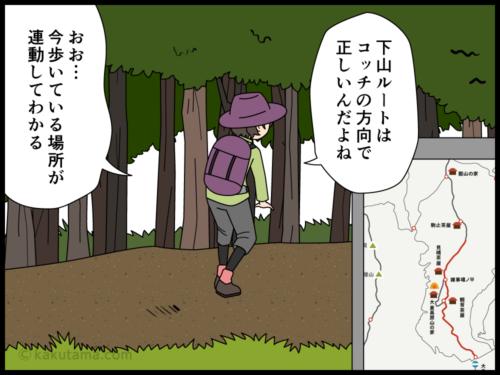 スマホの登山アプリの便利さに気がつく登山者の漫画