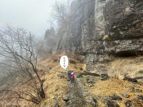 再び屏風岩を見上げる