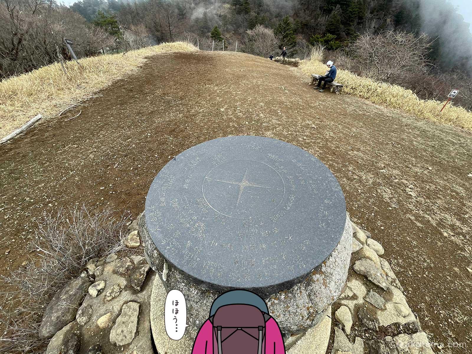 三ツ峠山荘近くの広場の山座同定盤