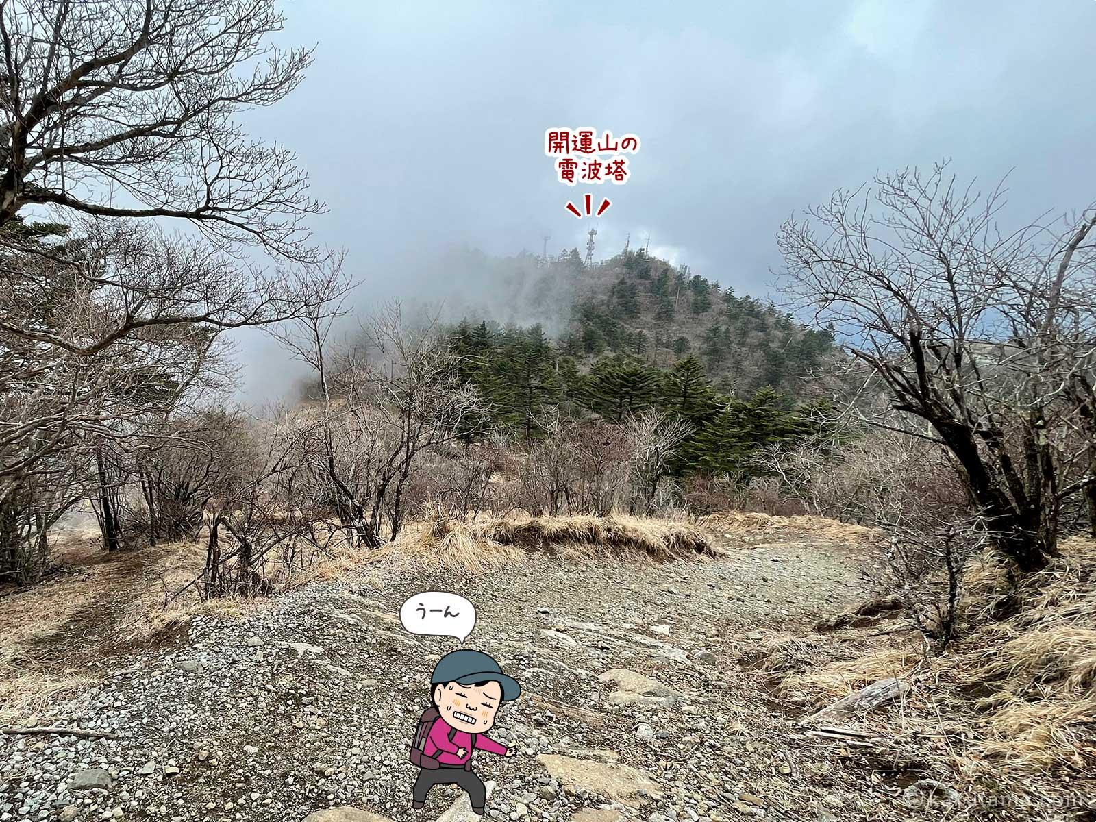 御巣鷹山から三ツ峠山を見る