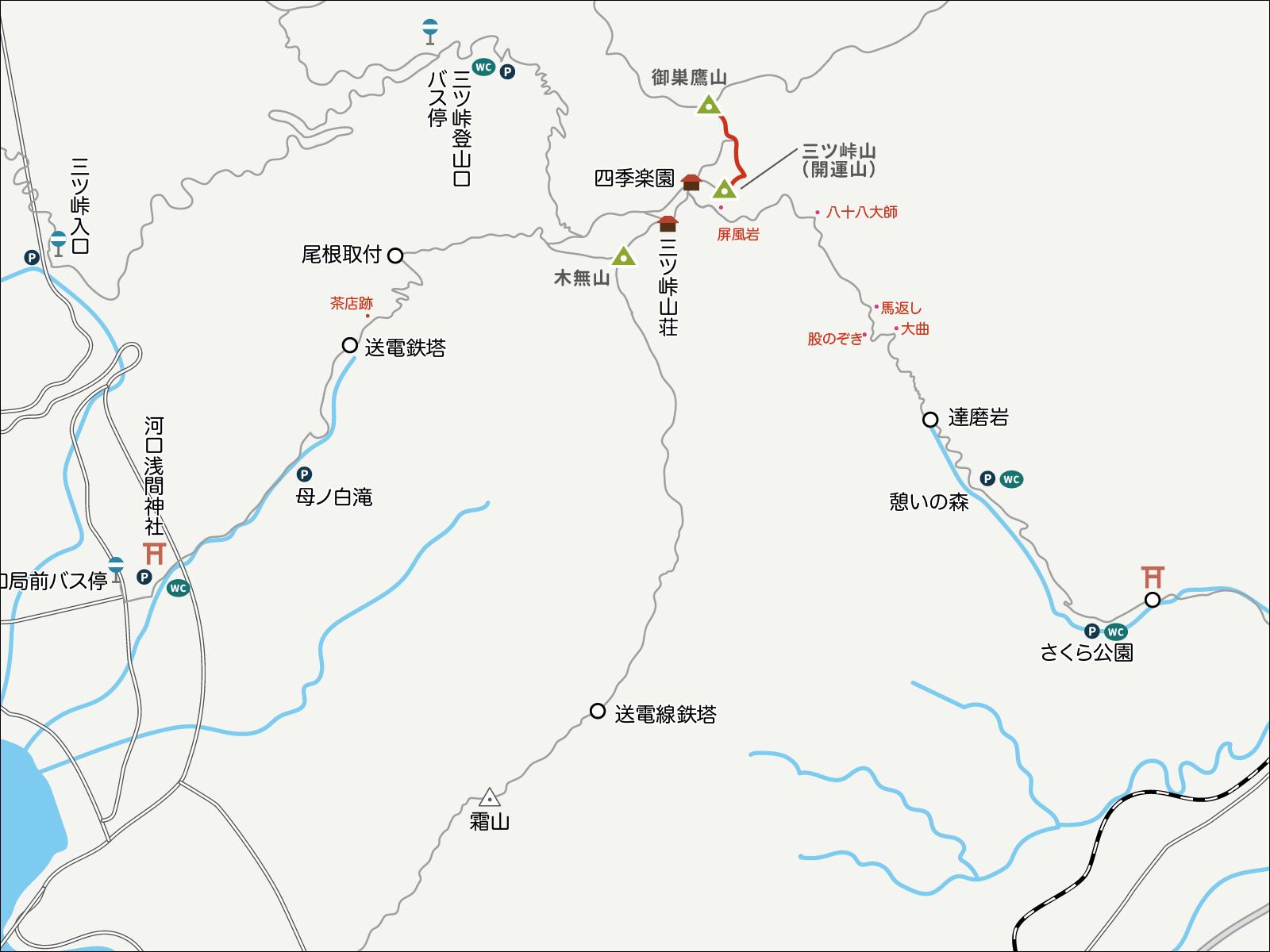 三ツ峠山から御巣鷹山へのイラストマップ