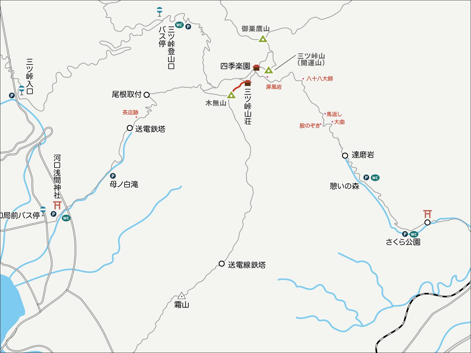 三ツ峠山荘から木無山へのイラストマップ