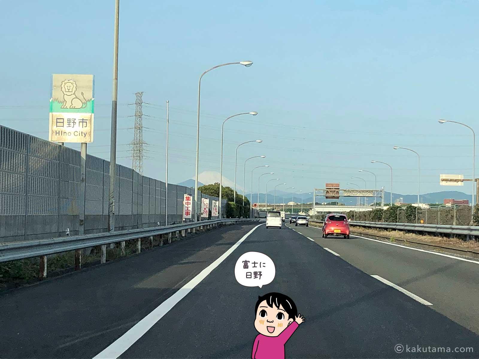 高速道路上から見た富士山