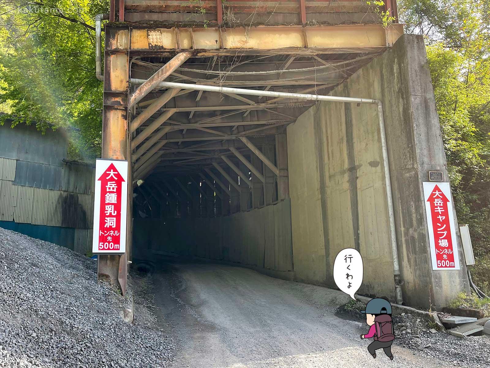 大岳山鍾乳洞手前のトンネル