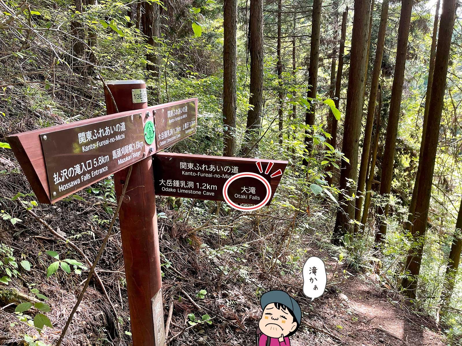 大滝への道標