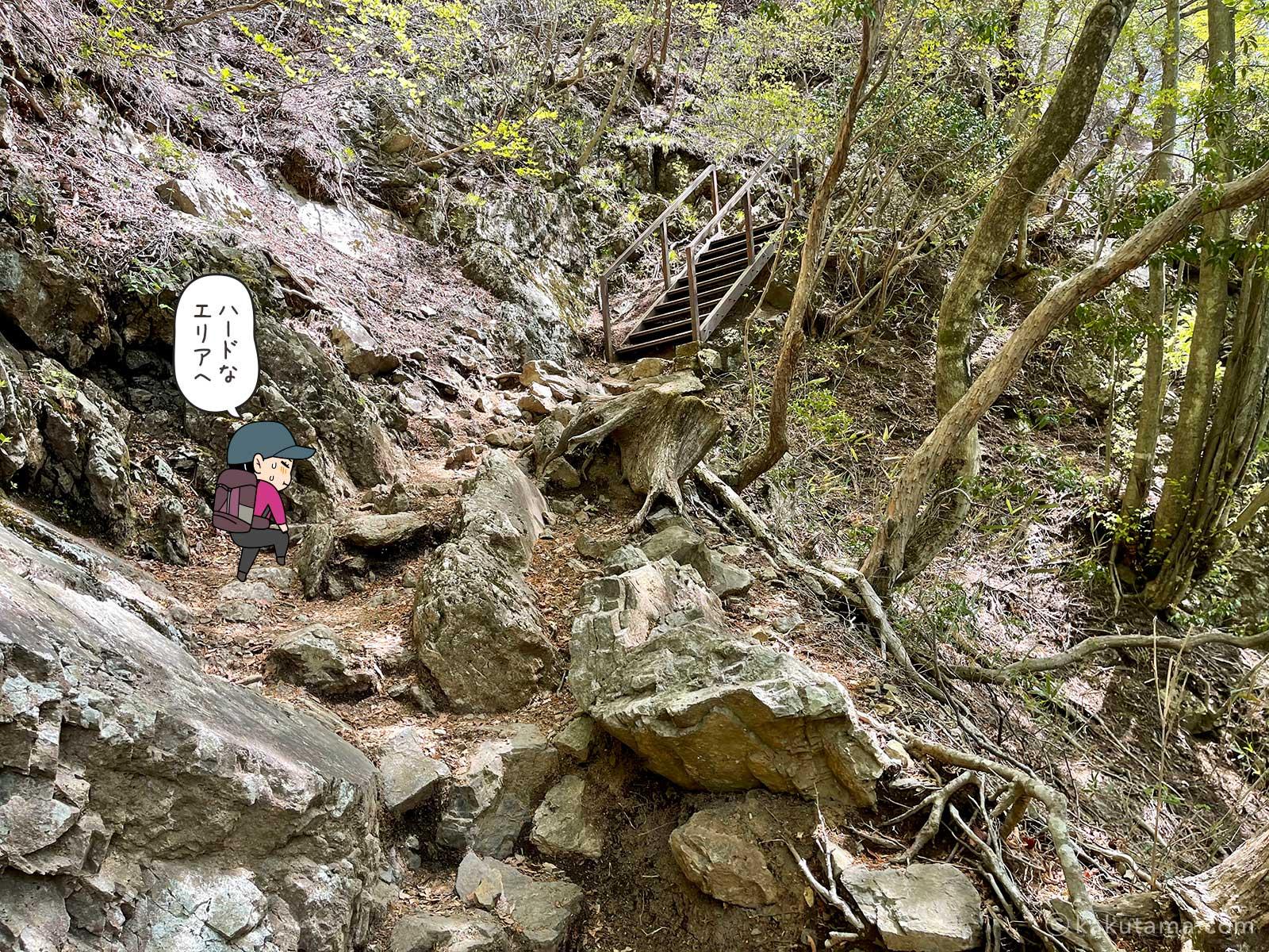 岩場と鉄の階段の道
