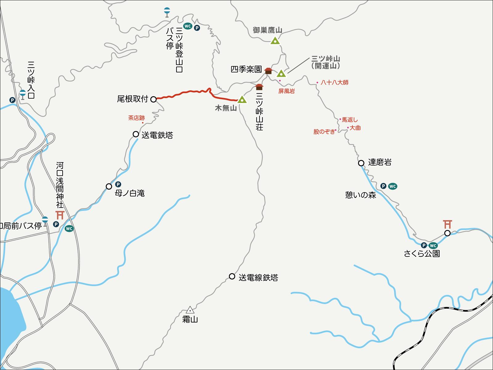 木無山から母の白滝へのイラストマップ1