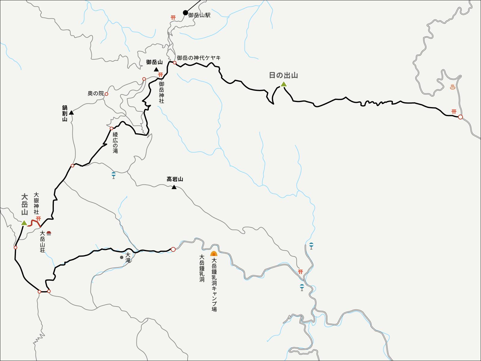 大岳山山頂から大岳山荘までのイラストマップ