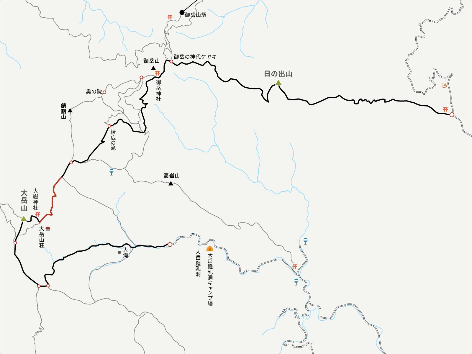 大岳山荘から分岐点までのイラストマップ