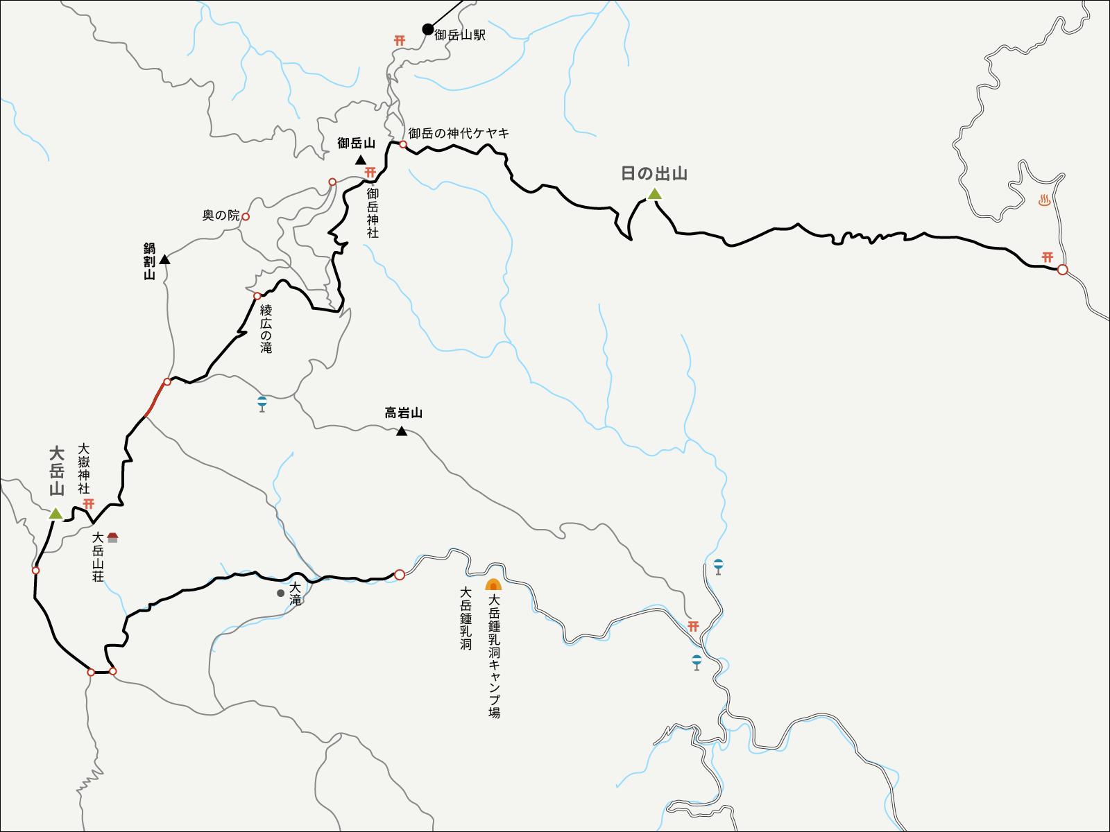 分岐点から御岳山ロックガーデンまでのイラストマップ