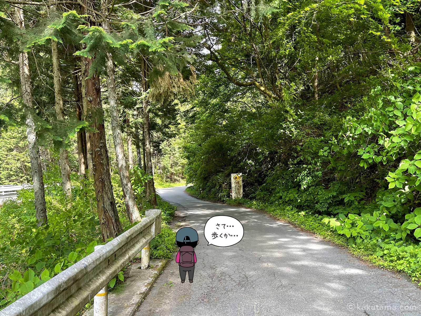 日の出山ハイキングコース入口から舗装路を歩く