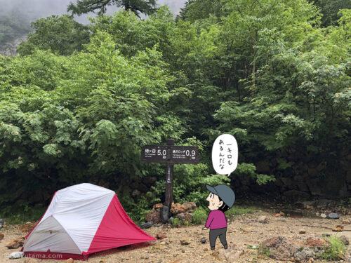 ババ平キャンプ場から槍沢ロッジまでは約一キロ