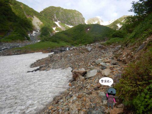 雪渓沿いを進む