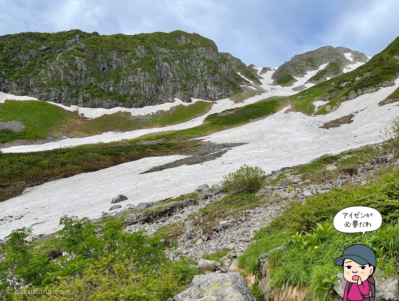 残雪豊富な天狗原コースを見る