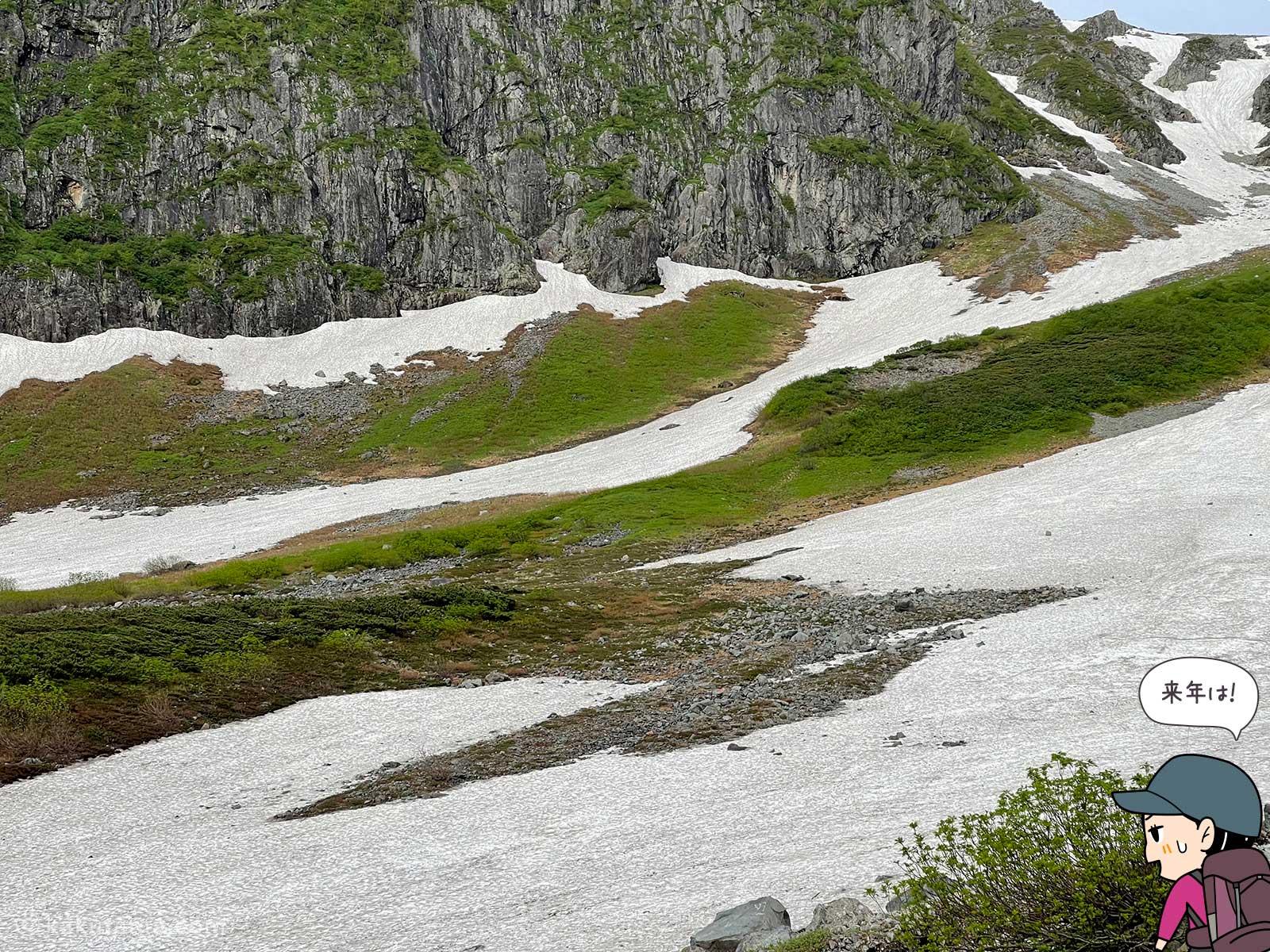 滑落したら滑り落ちて行きそうな雪渓