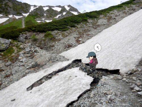 雪渓の間を渡る