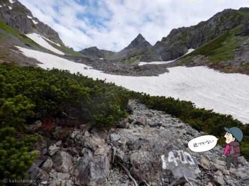 眼の前に雪渓が見えてきた
