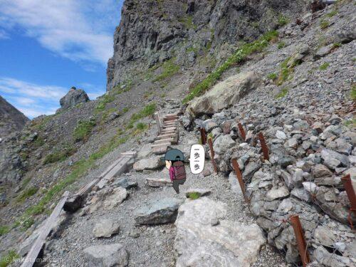 よく整備された槍ヶ岳山荘手前の急登1