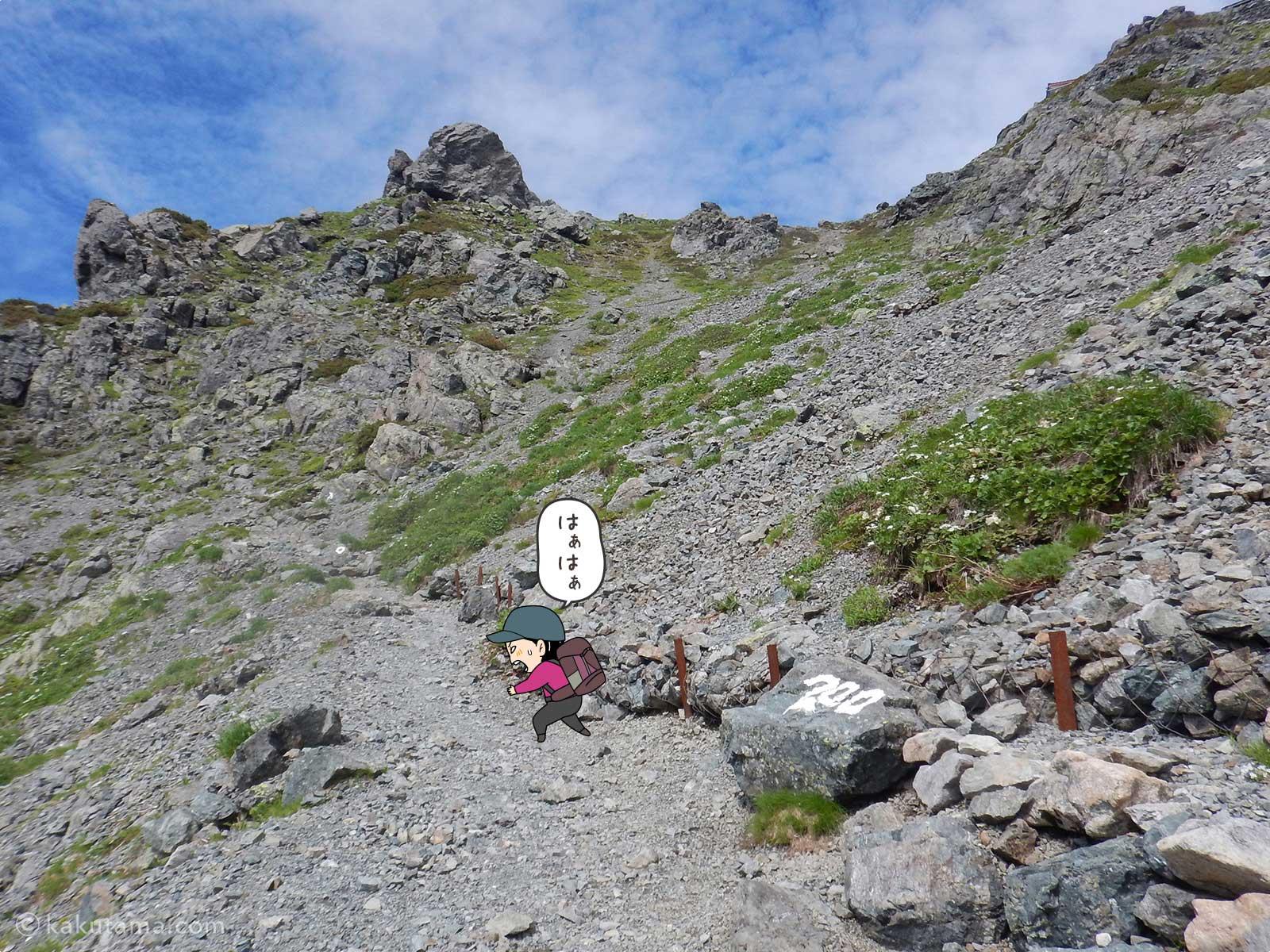 よく整備された槍ヶ岳山荘手前の急登2