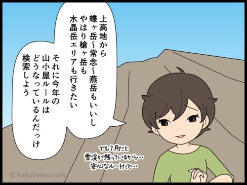 登山の妄想をしているうちに一日が終わっていた登山者の漫画