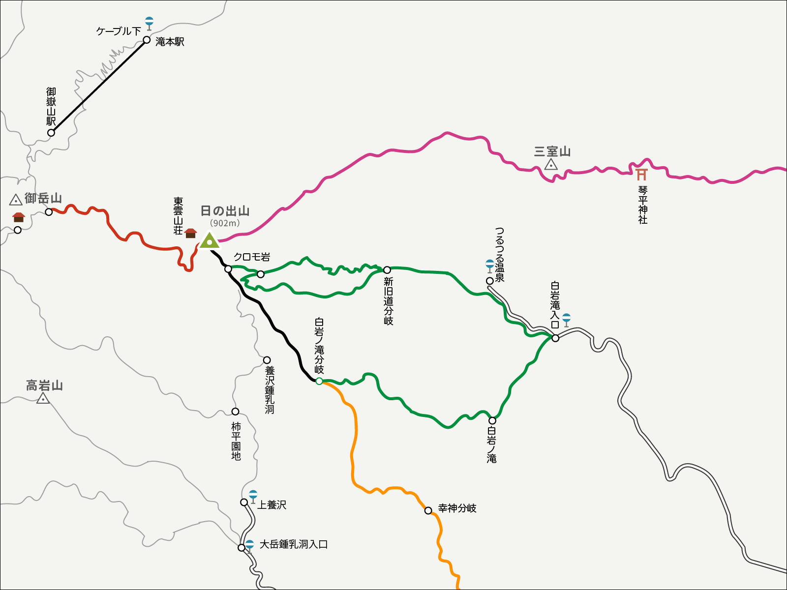 日の出山のイラストマップ