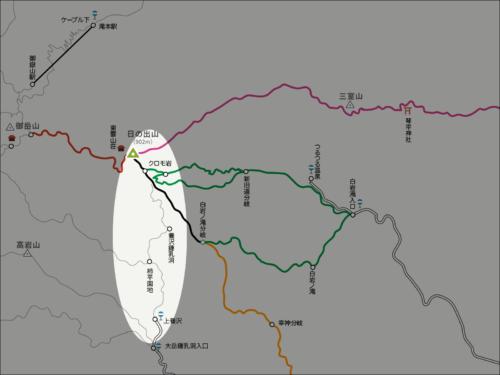 日の出山から上養沢へのイラストマップ