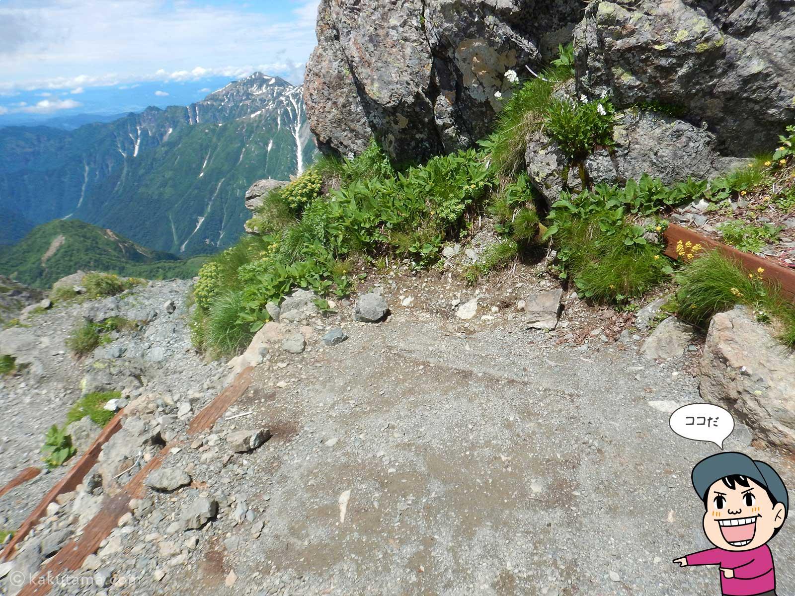 槍ヶ岳山荘のテント場の場所