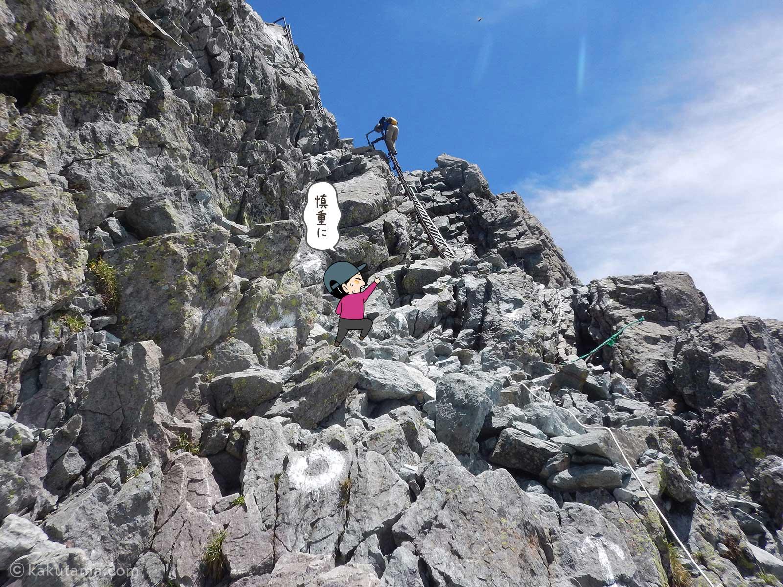 槍ヶ岳の岩場を登っていく4