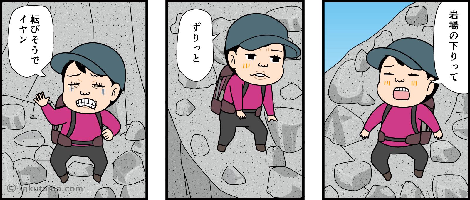 岩場を下るイラスト