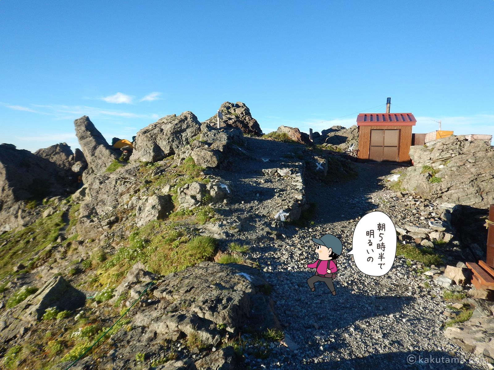 槍ヶ岳山荘テント場から歩く
