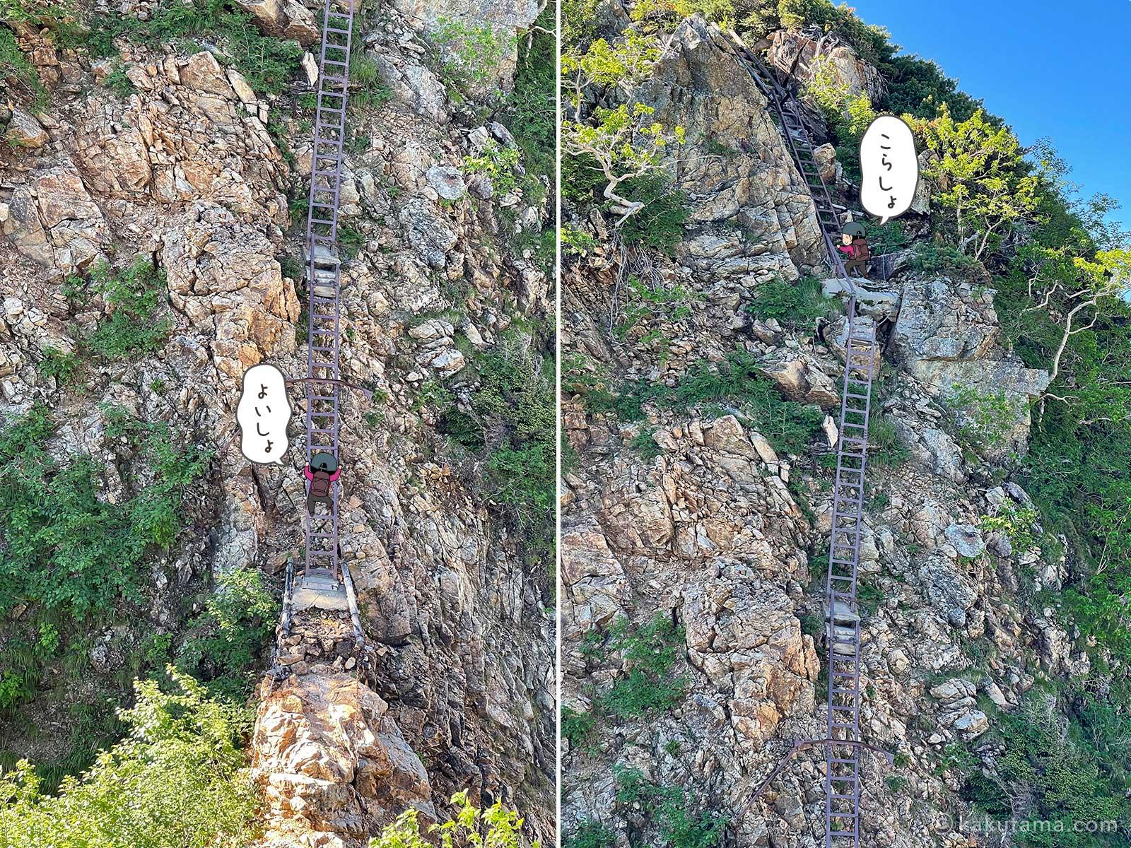 表銀座縦走コース最大のハシゴを登る