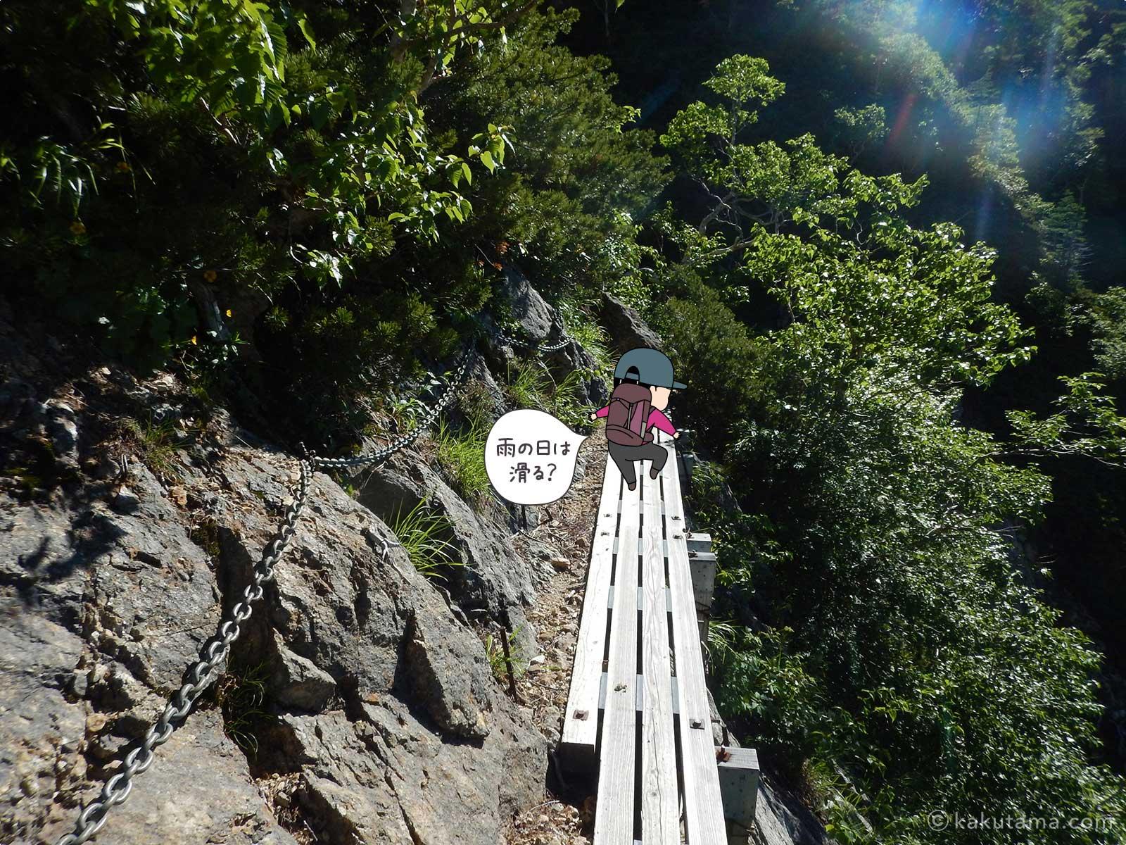 板で舗装された崖を歩く