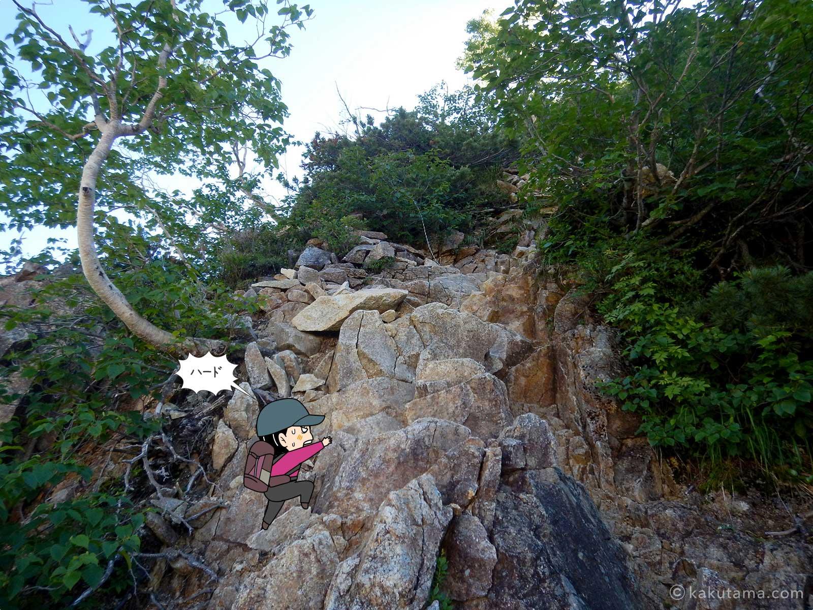 垂直な岩場を登る