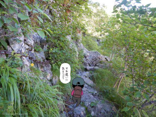 細い岩場の道