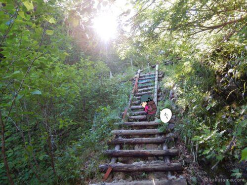 長い階段を登る