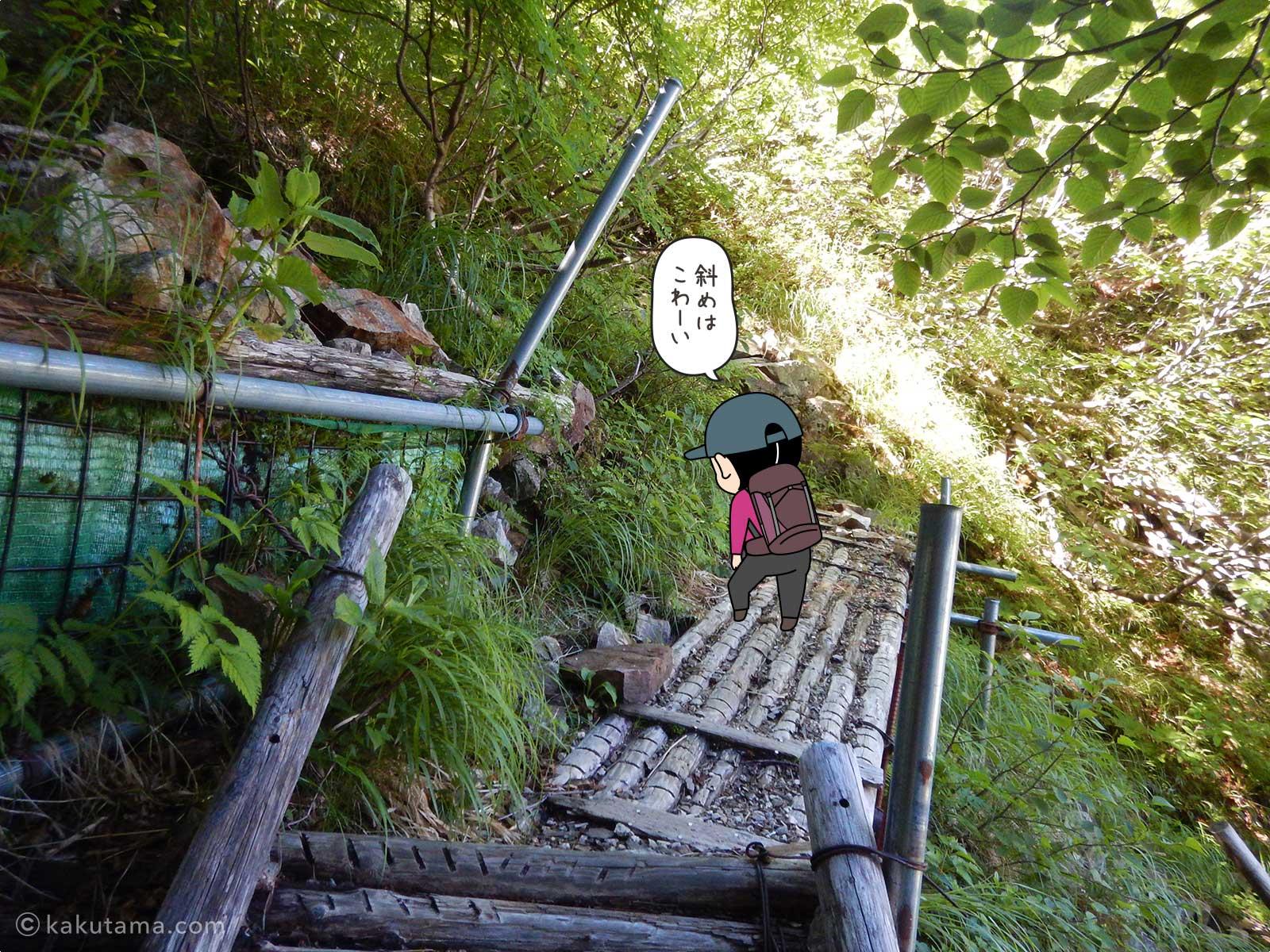斜めになっている木の舗装路