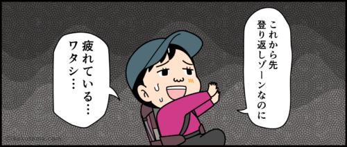 岩場を登って疲れている登山者の漫画