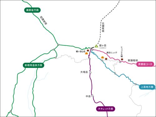 槍ヶ岳のコースマップ