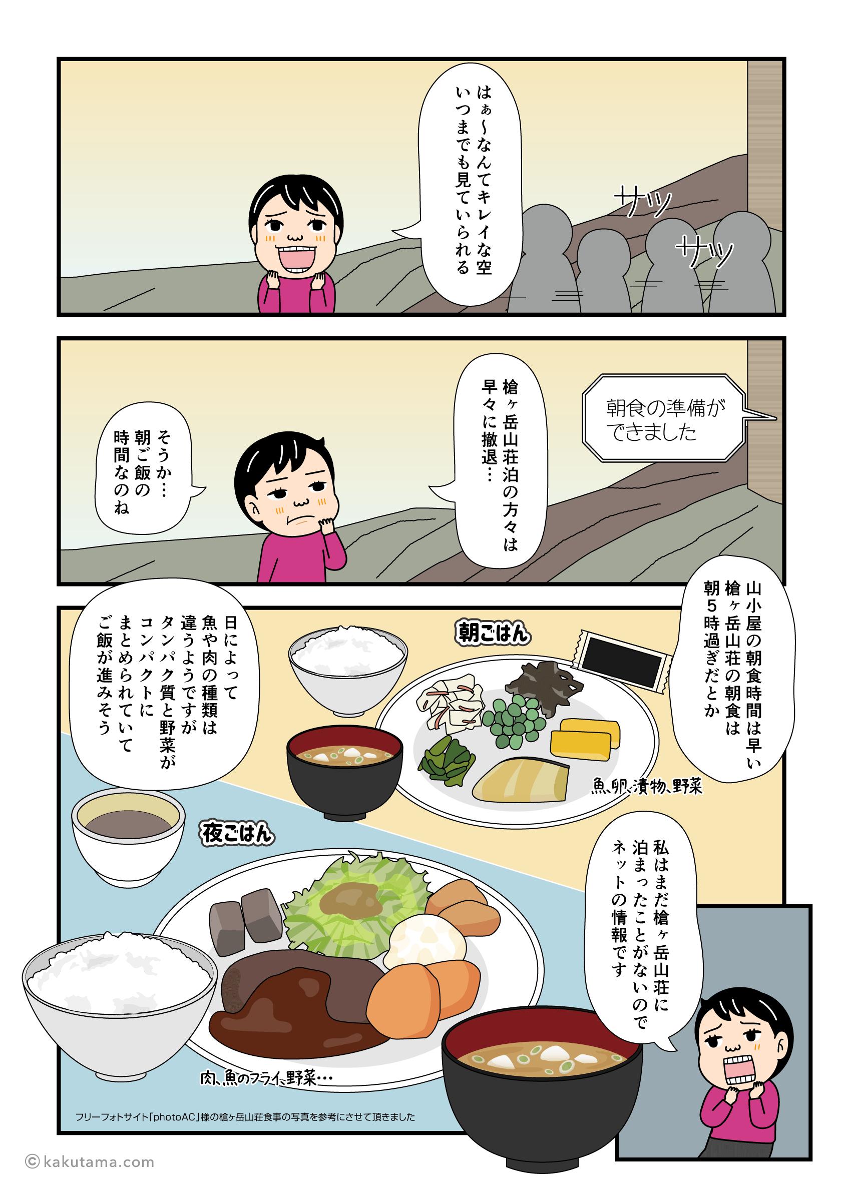 槍ヶ岳山荘の朝食の漫画