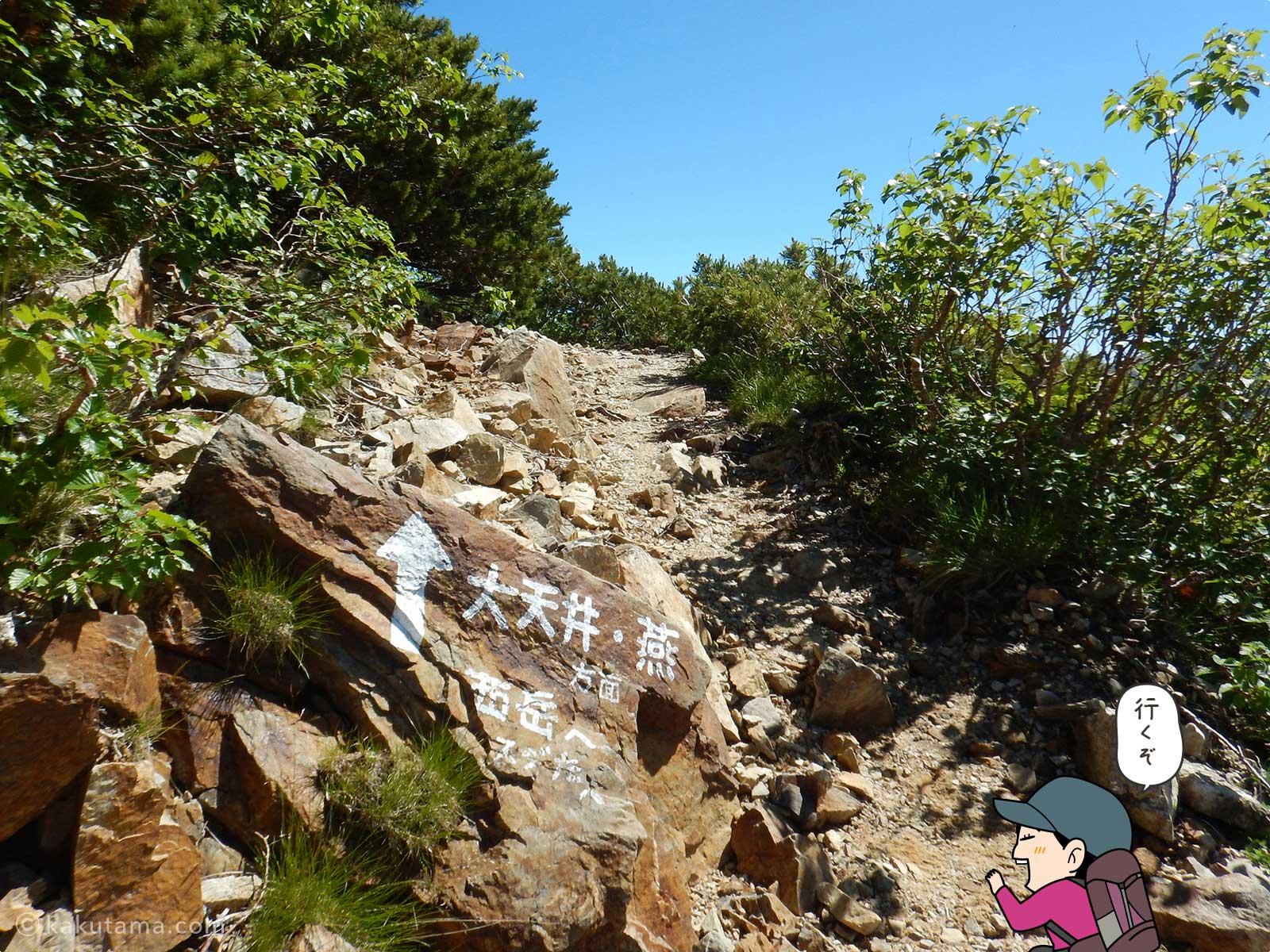 西岳から大天井岳へ向かって歩きだす