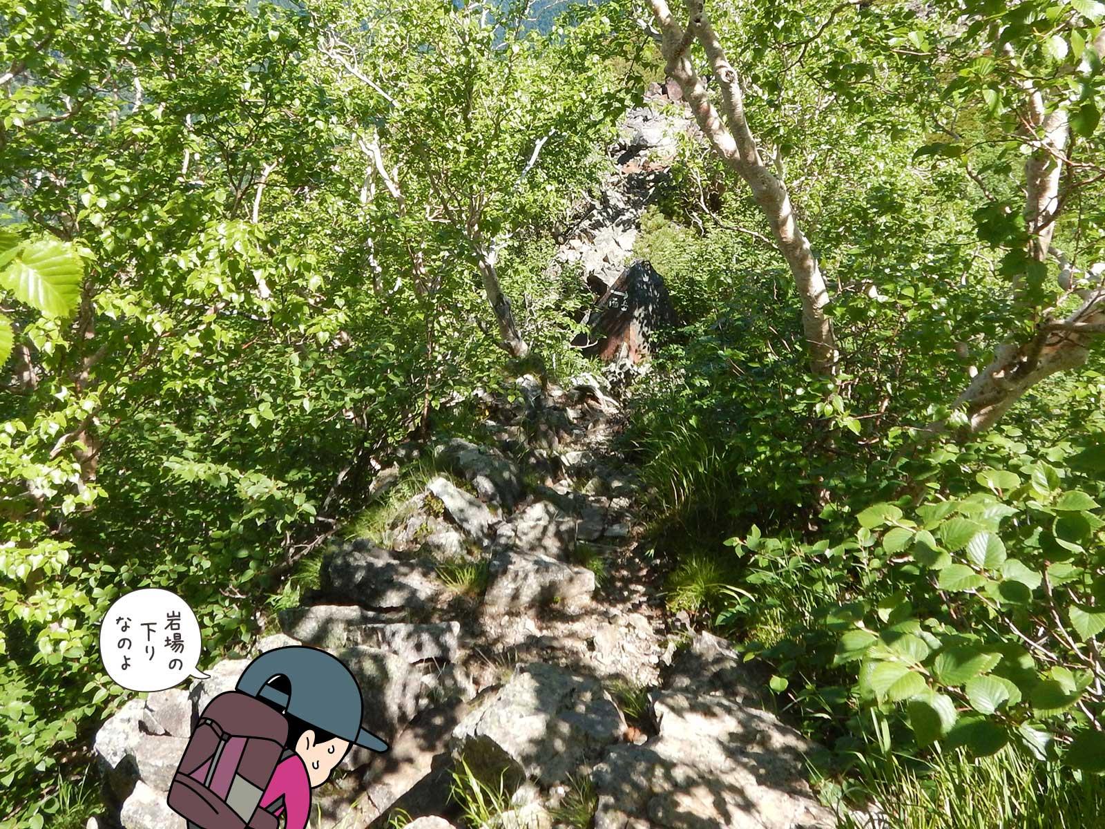 ゴツゴツとした岩場を降りる