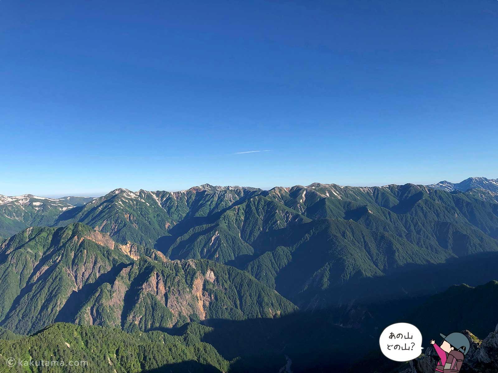 大天井岳から見る山々