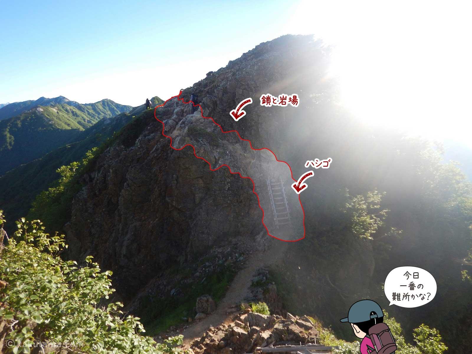 燕山荘〜大天荘間の難所