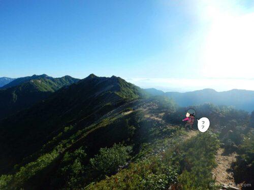 大天井岳直下の気持ちの良い登山道1