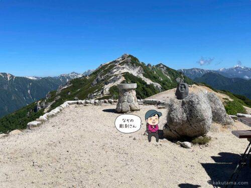 燕山荘前の山座同定盤と石像