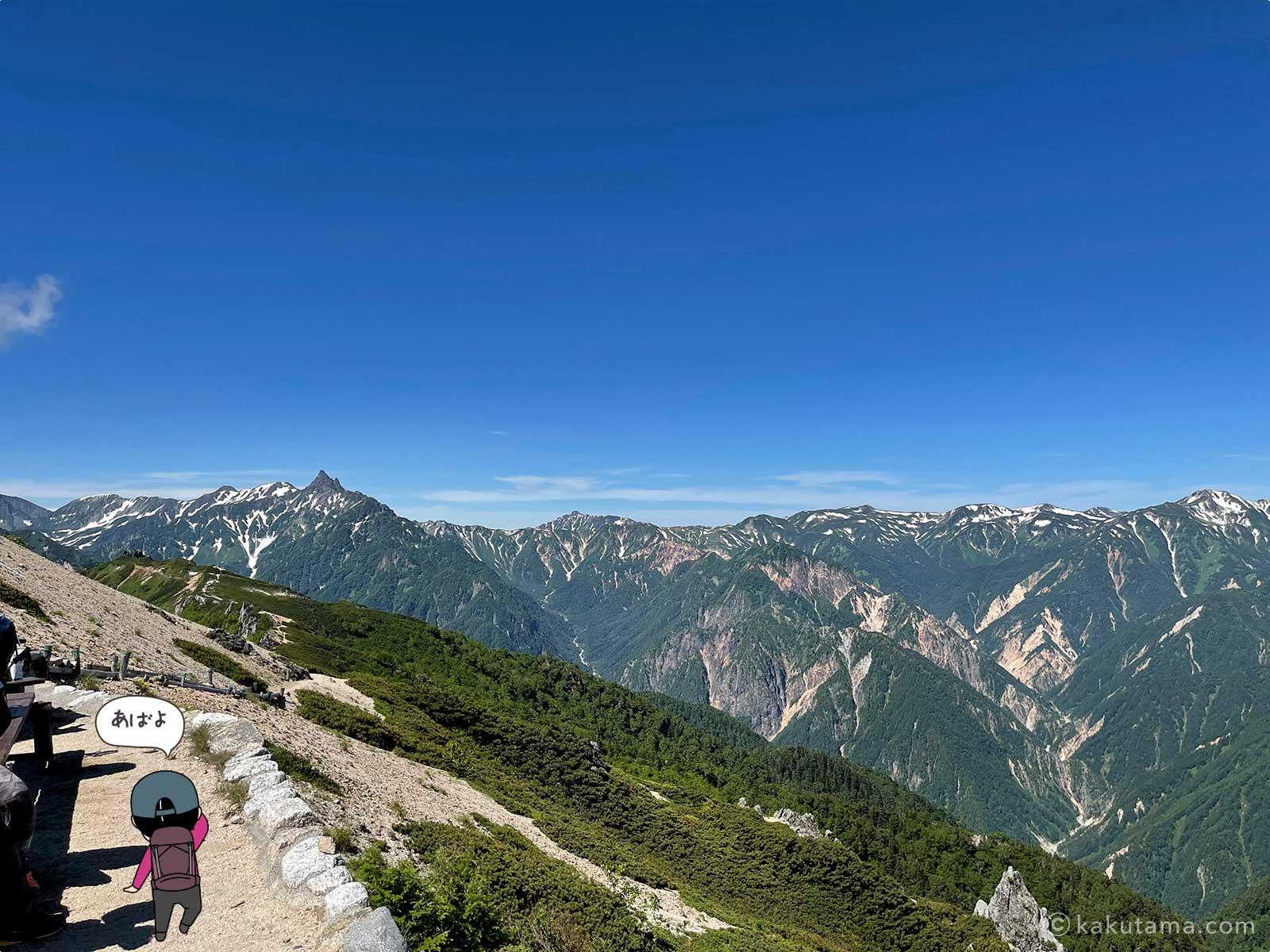 燕山荘から見る槍ヶ岳