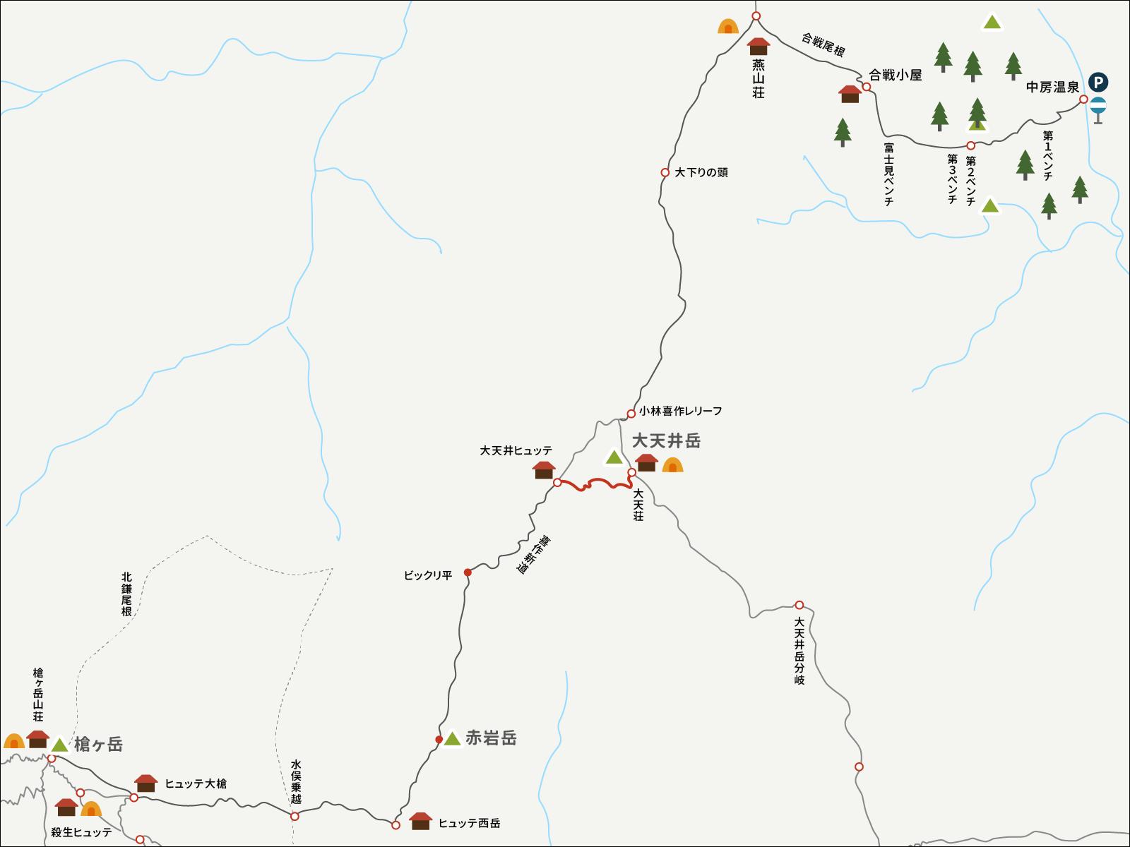 大天井ヒュッテから大天荘までのイラストマップ